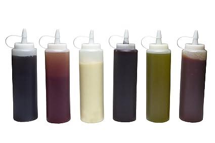 Squeeze botella de salsa, D & & R (6pk) 8 oz plástico transparente