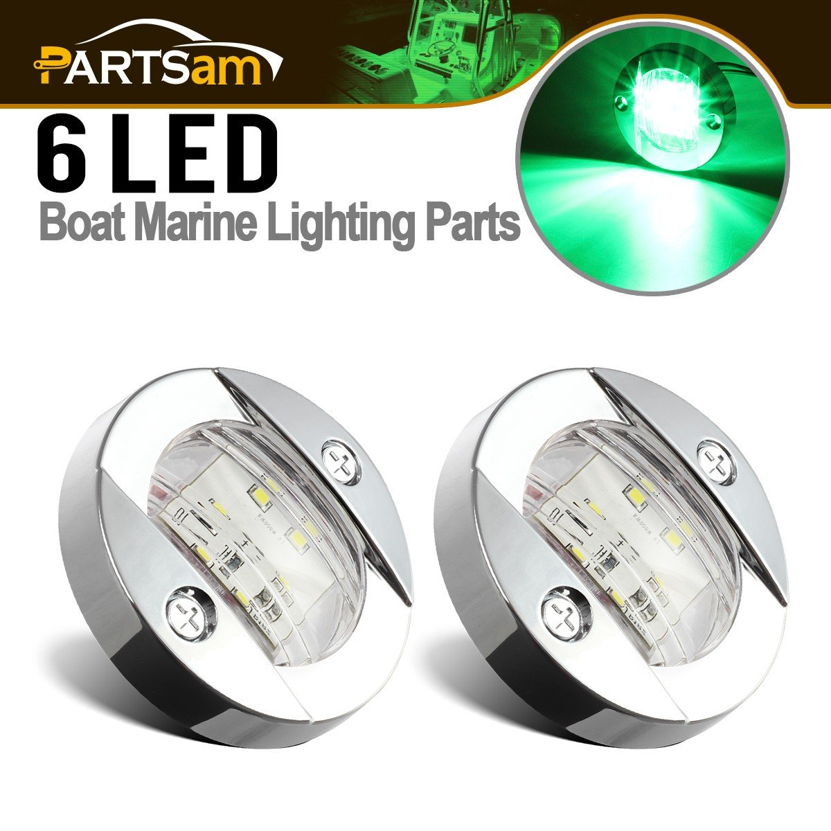 Partsam 3'' inch Round Navigation Light Boat Marine Green 6 LED Transom Mount Stern Anchor Clear Lens 12 Volts DC Chrome Bezel (Pack of 2) by Partsam