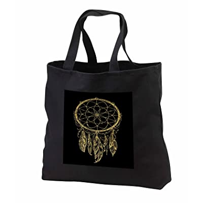Anne Marie Baugh - Tribal - Pretty Gold Dream Catcher On A Black Background - Tote Bags - Black Tote Bag JUMBO 20w x 15h x 5d (tb_252854_3)