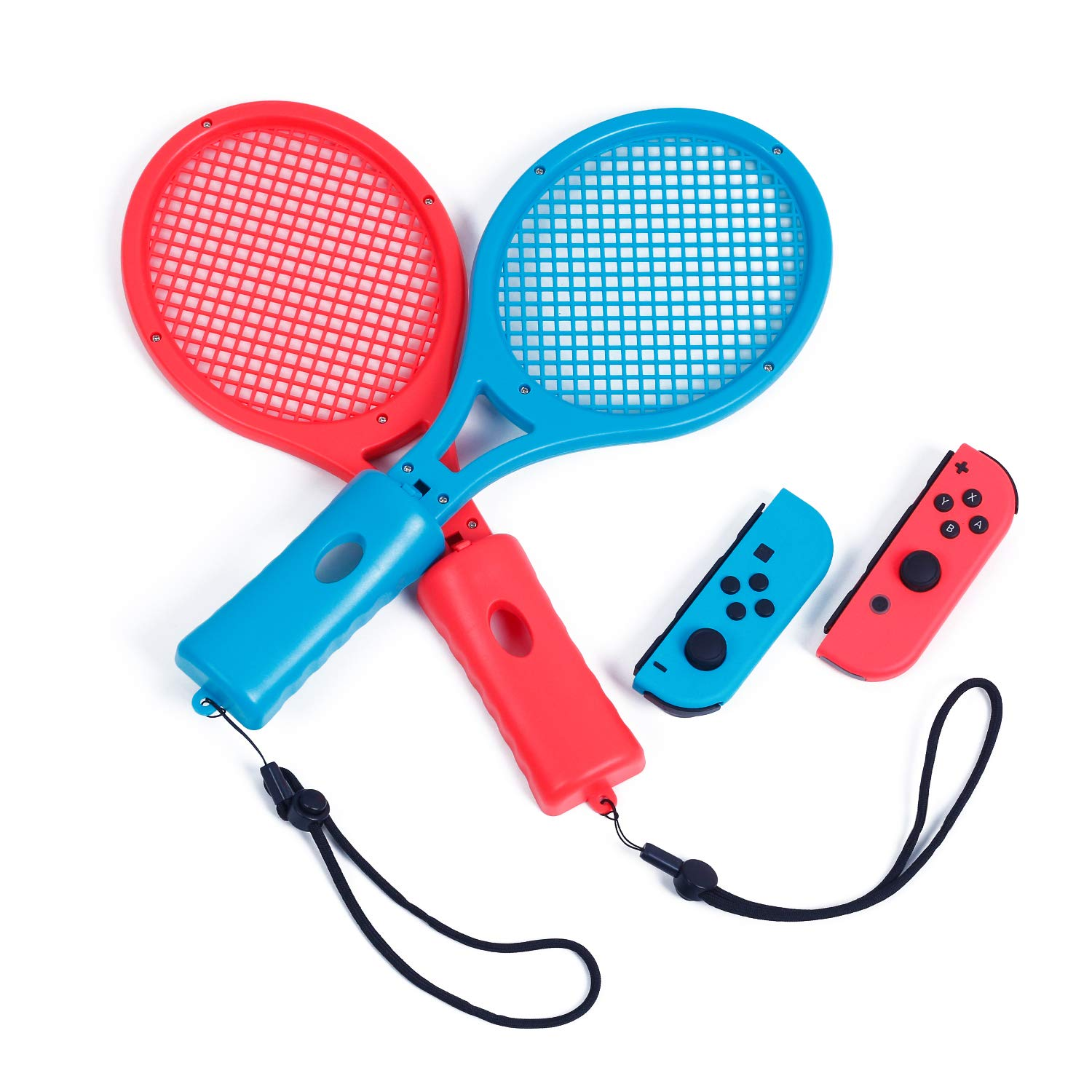 Tennis Racket for Nintendo Switch Mario Tennis Aces, Tennis Racket for Nintendo Switch Joy-Con Controller - Blue and Red by HEATFUN