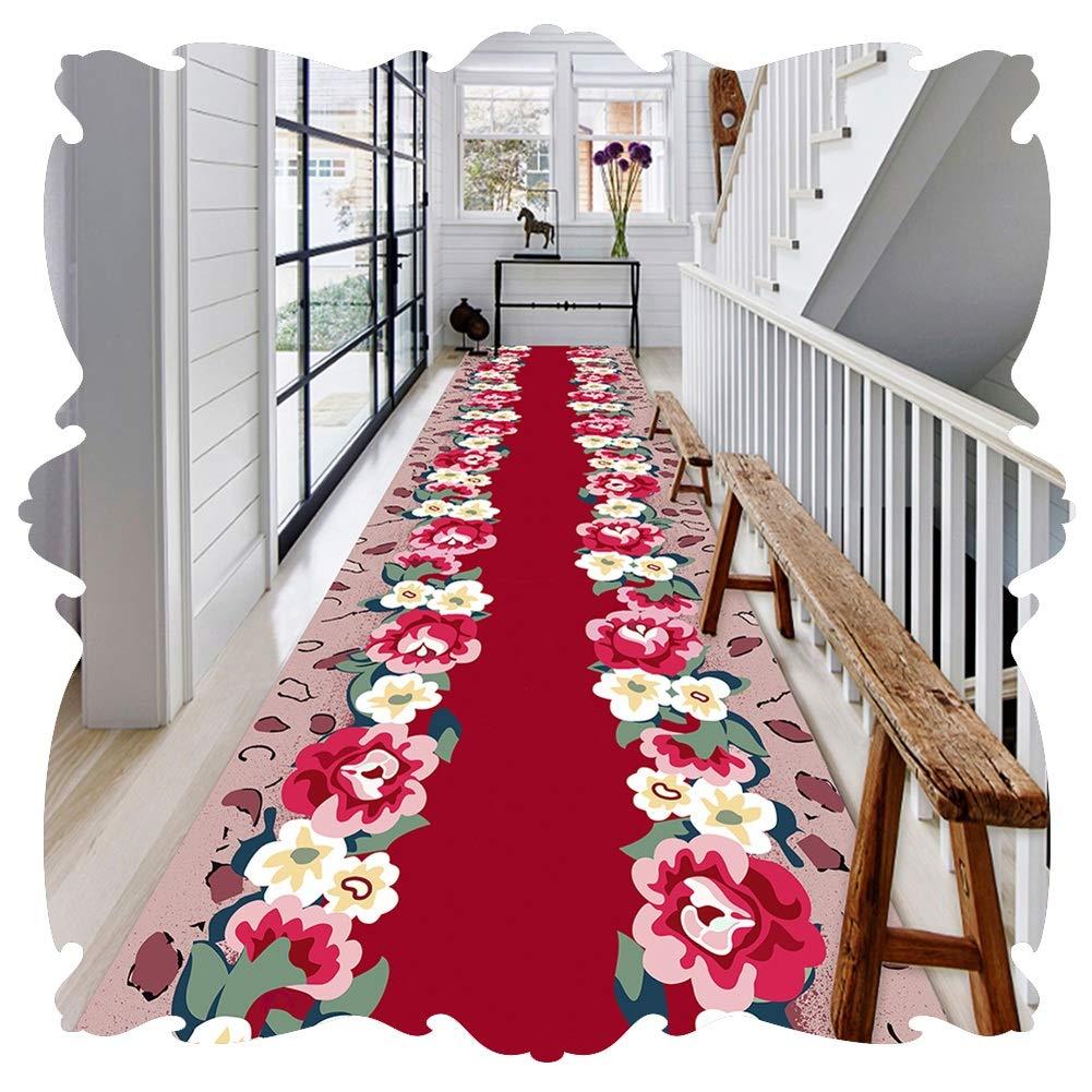 YANGJUN 廊下敷きカーペット ラグ ランナー 洗える イージーケア 柔らかい 滑り止め 印刷 花 赤 カッタブル カスタマイズ可能 (Color : A, Size : 1.4x3.5m) B07SN43WR5 A 1.4x3.5m