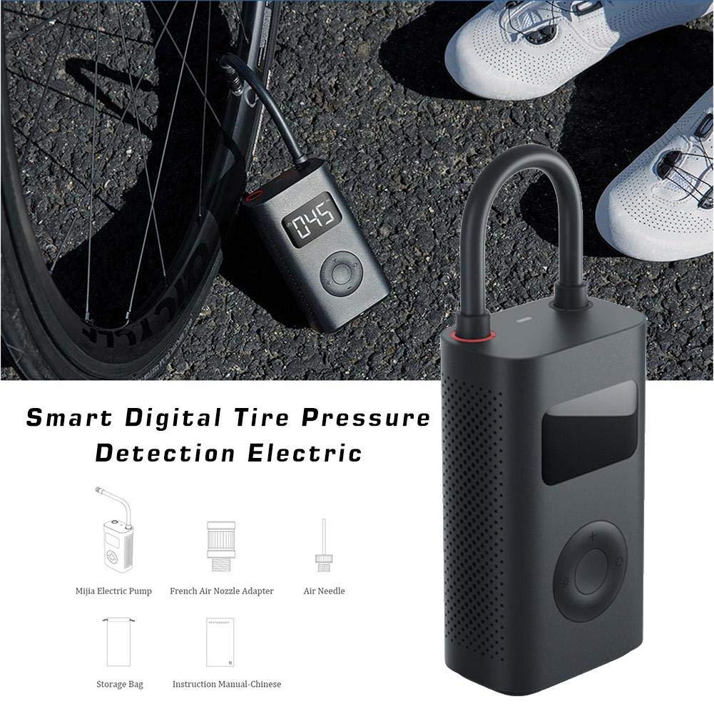Mississ Pompa di gonfiaggio elettrica Smart Portable Digital Detection Pressure Tire per Xiaomi Mijia Bike//Moto//Auto//Calcio