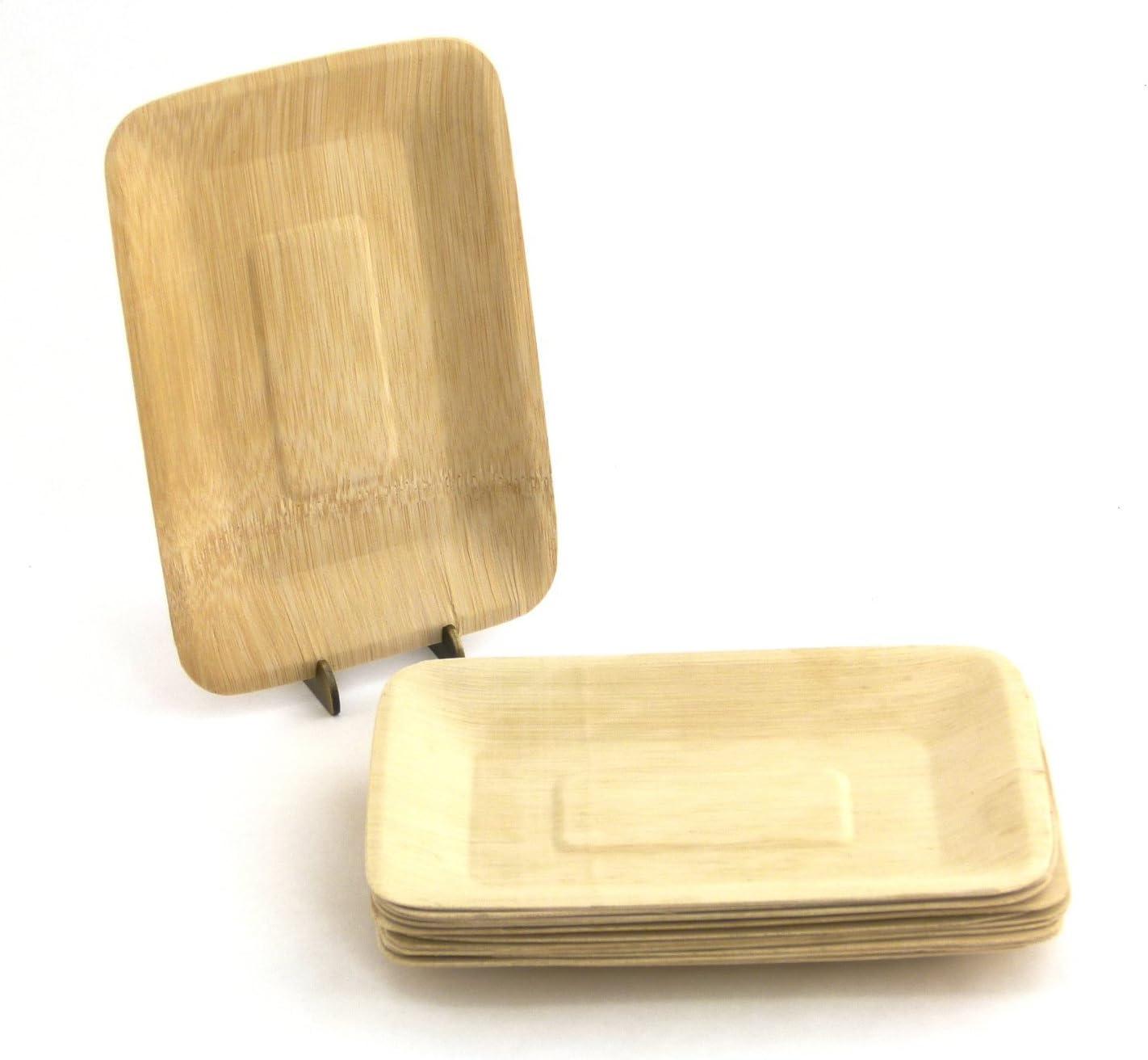 "B01E5TO9FI BambooMN Brand - 7.3"" x 5"" Rectangle Disposable Bamboo Veneer Plates, 96pcs 719KrzpyllL"