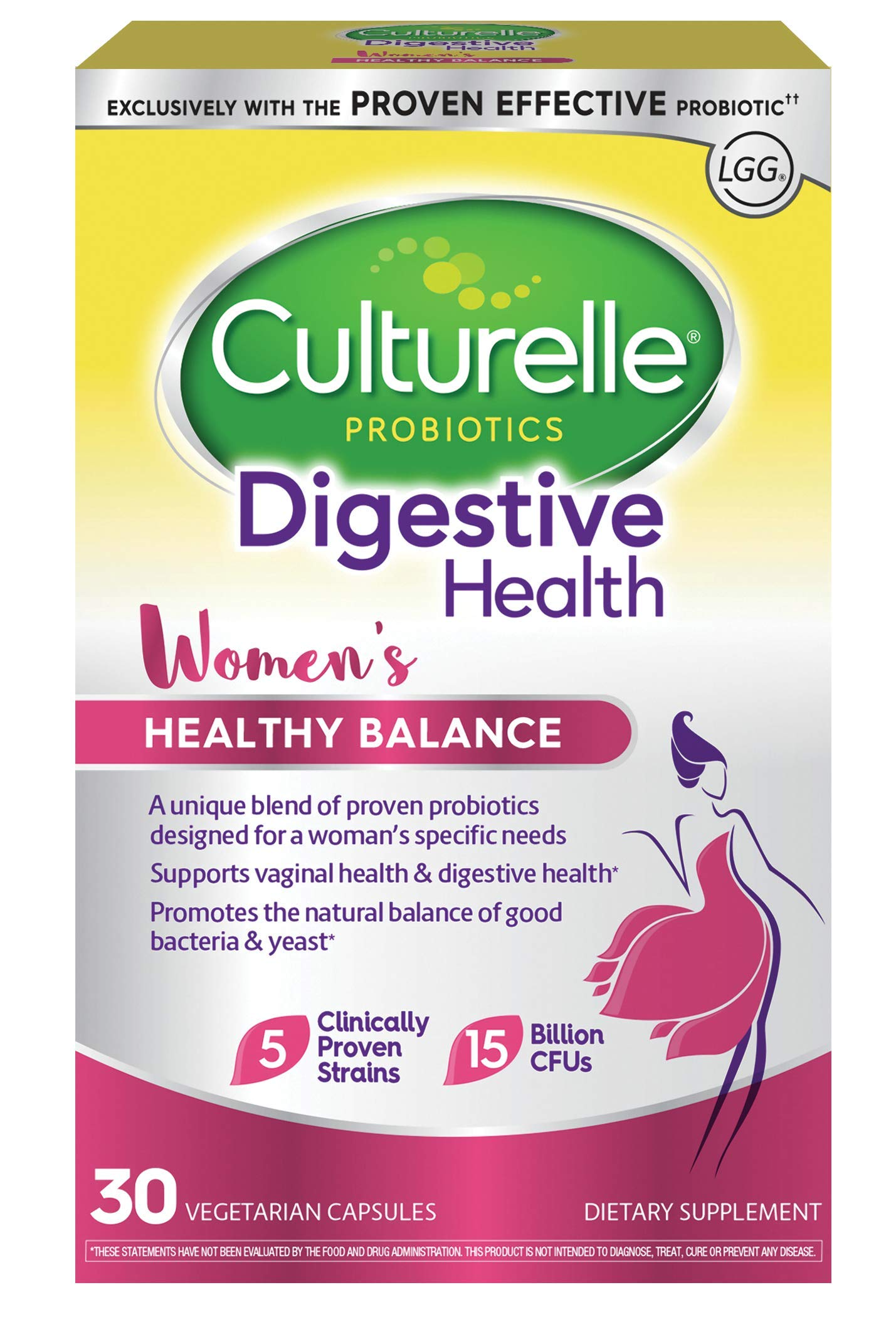 Culturelle Women's Healthy Balance Probiotic for Women | 30 Count | with Probiotic Strains to Support Digestive, Immune and Vaginal Health* | with The Proven Effective Probiotic | Packaging May Vary by Culturelle