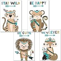 artpin® Juego de 4 pósteres para habitación infantil