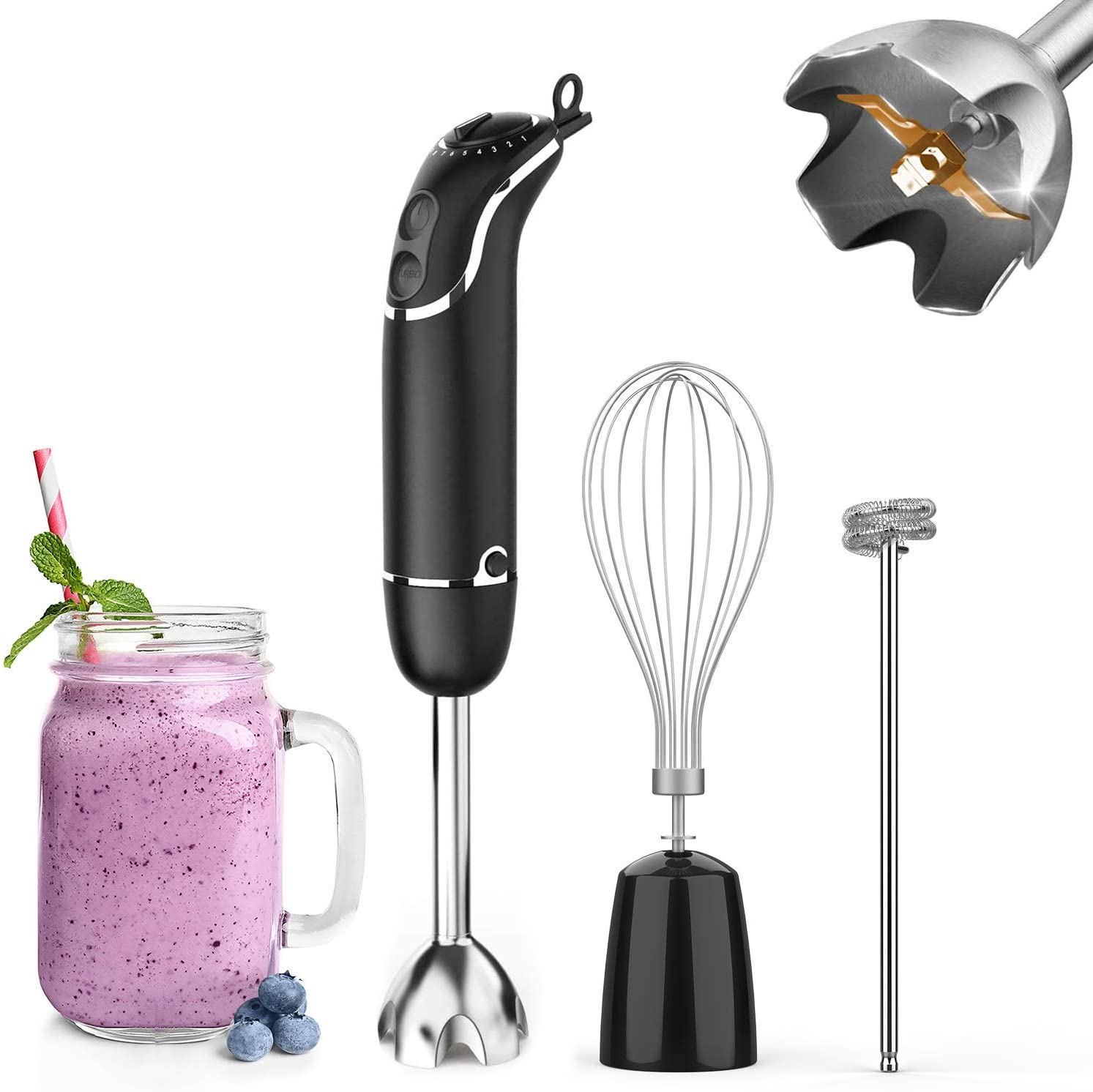 KOIOS 800-Watt/ 12-Speed Immersion Hand Blender(Titanium Reinforced), Turbo for Finer Results, 3-in-1 Set Includes BPA-Free Food Chopper / Egg Beater /Milk Frother Ergonomic Grip, Detachable (Renewed)