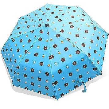 Dream Roland Sombrilla Plegable de Tres Capas con un botón Apertura automática Paraguas sombrilla plástica Negra