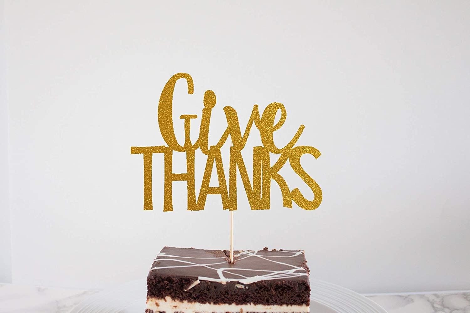 Thanksgiving Party Supplies Give Thanks Glitter Cake Topper Thanksgiving Cake Topper