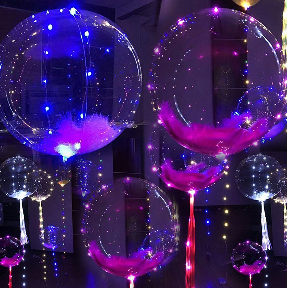 Transer LED Light Up Balloons, 1 Pcs 20-Inch Colorful Luminous Transparent Bubble Balloon, Fillable Light up Balloons, Great for Christmas Birthday Wedding Valentine Party Decoration (Multicolor)