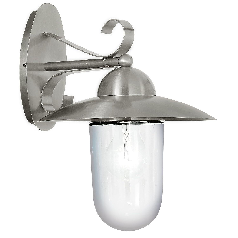 EGLO Außen Stehleuchte Modell Sidney aus Edelstahl und weißem satiniertem Glas, HV 1 x E27 maximal 60 W, Schutzgrad IP 44, 120 x 35 cm, Durchmesser 12 cm