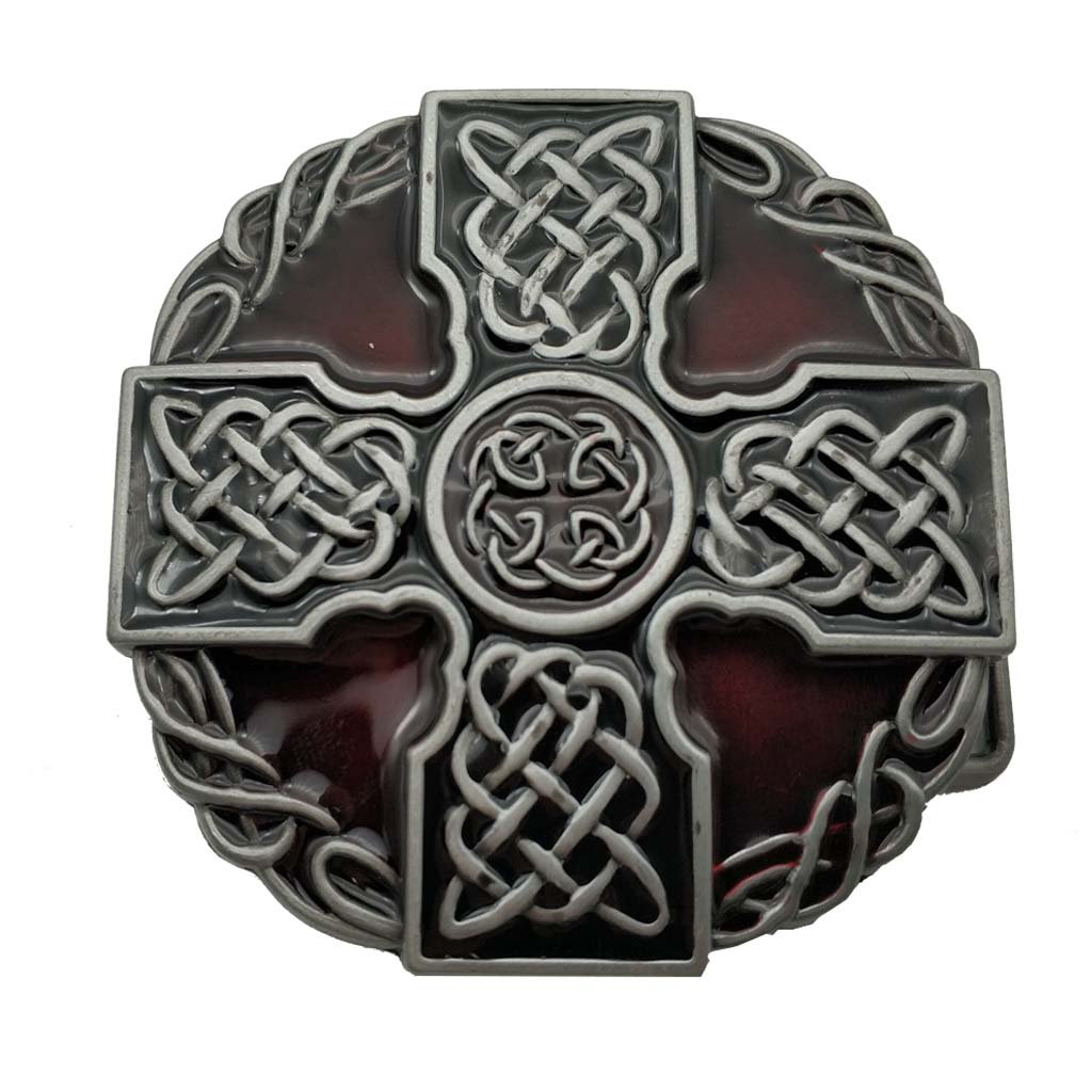 Round Celtic Trinity Rope Knot Cross Belt Buckle Scottish Kilt Zinc Alloy 1-ONE other-002