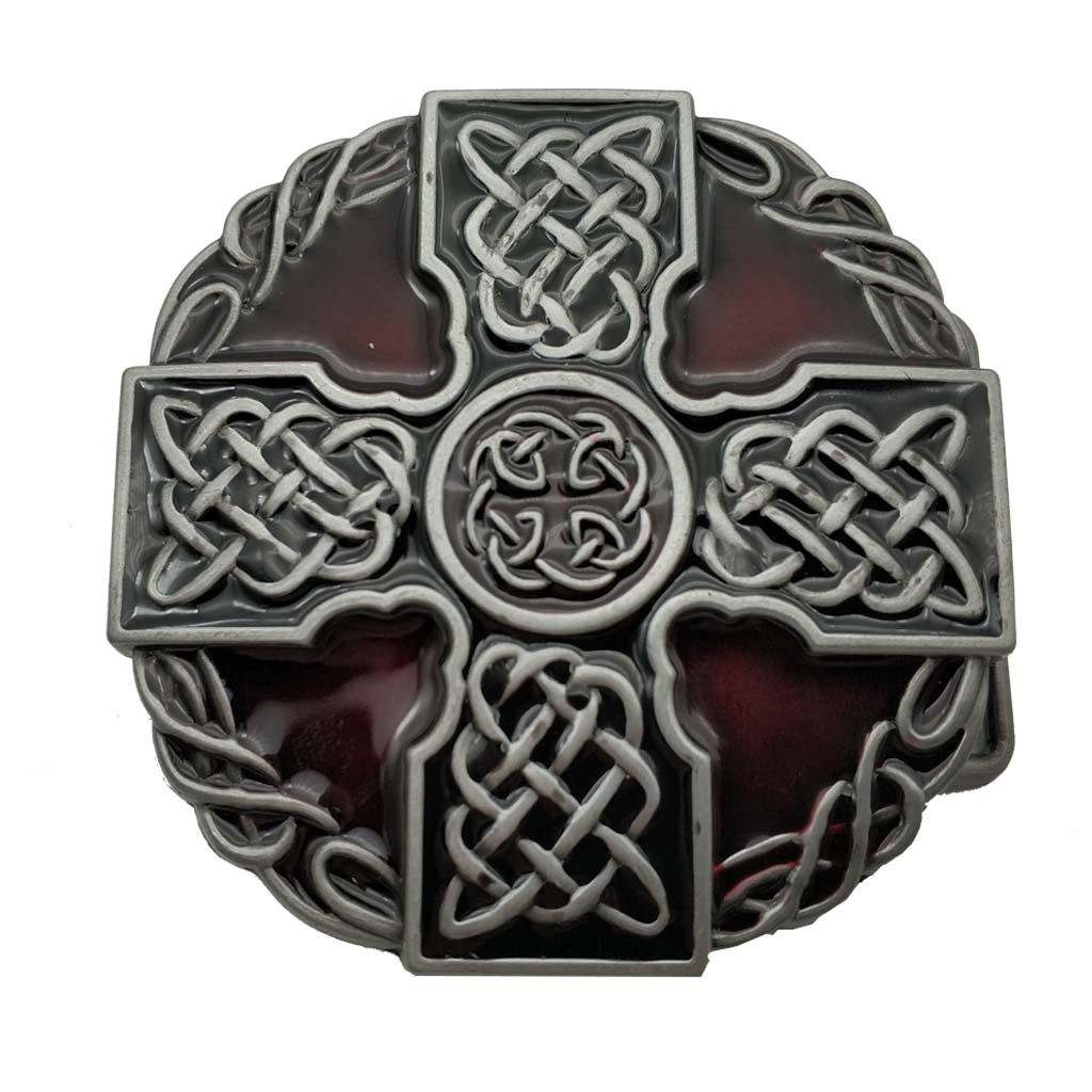 YONE Fibbia per Cinture Round Celtic Trinity Rope Knot Cross Belt Buckle Scottish Kilt Zinc Alloy