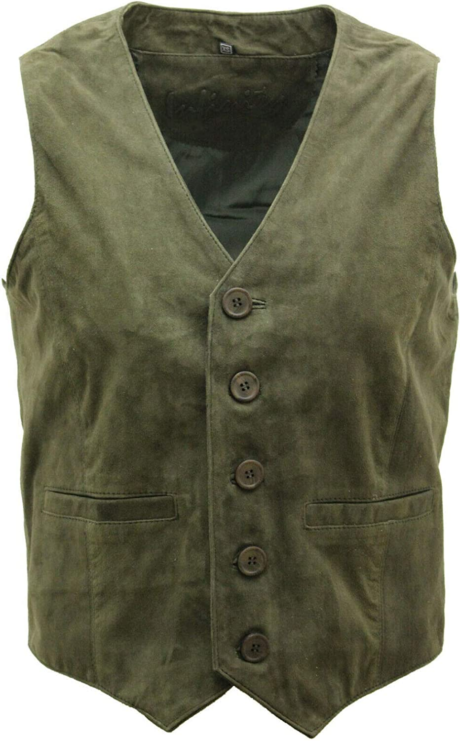 Infinity Mens Goat Suede Classic Smart Tan Leather Waistcoat