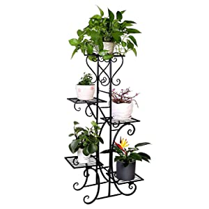 Tall Metal Plant Stand Indoor Outdoor 5 Tier Flower Pot Holder Garden Wrought Iron Planter Shelf Rack Black