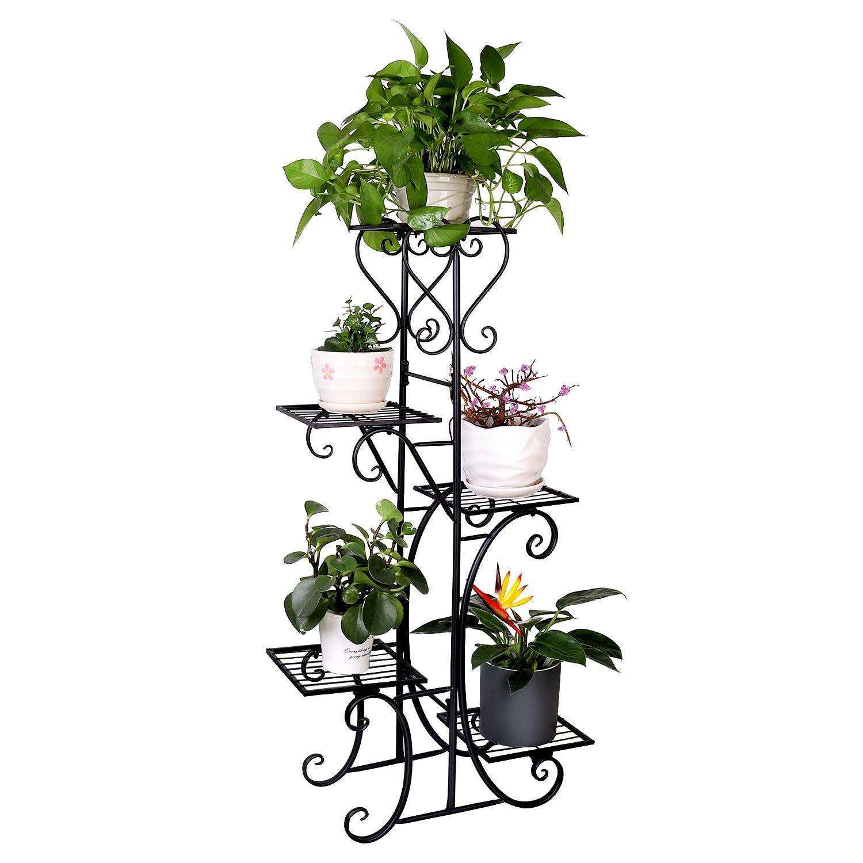 Tall Metal Plant Stand Indoor Outdoor 5 Tier Flower Pot Holder Garden Wrought Iron Planter Shelf Rack Black