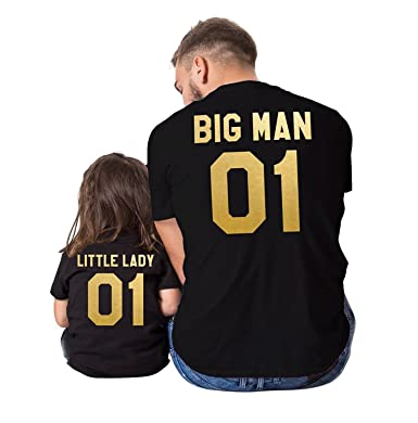 Big man little lady father daughter matching shirts, Big man little lady father daughter matching T-shirts, 100% cotton Tee, UNISEX