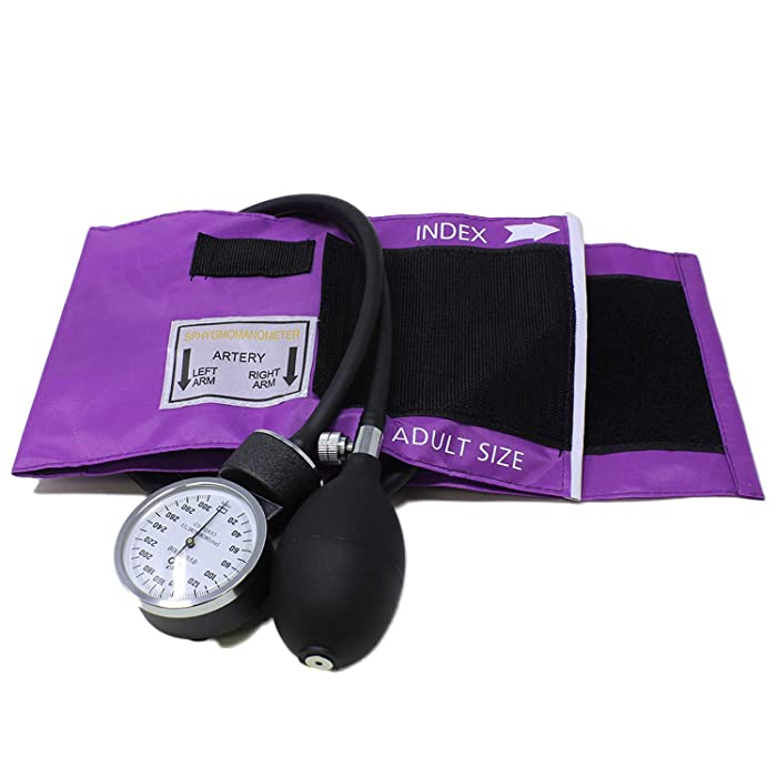 Dixie EMS Purple Deluxe Aneroid Sphygmomanometer Blood Pressure Set W/ Adult Cuff, Carrying Case And Calibration Tool