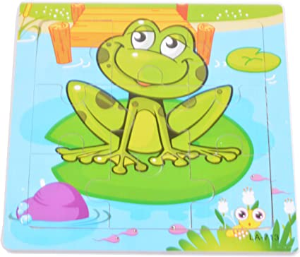 Tiny Souls Wooden Puzzle Frog Over The Leaf in Water