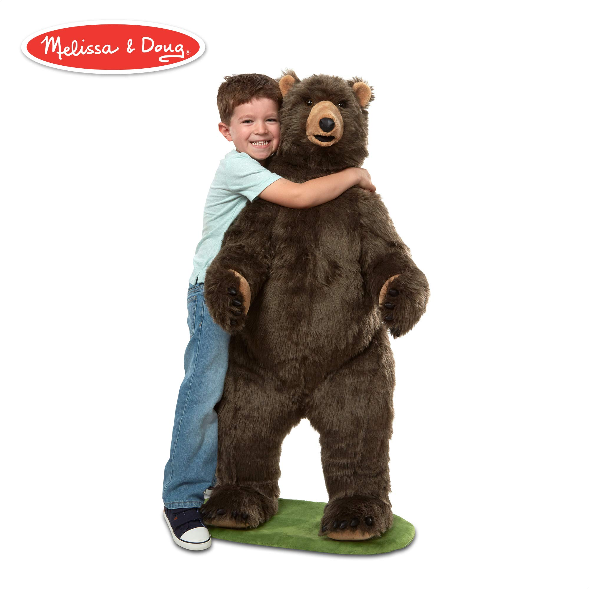 Melissa & Doug Giant Lifelike Plush Grizzly Bear Standing Stuffed Animal (Almost 4 Feet Tall) by Melissa & Doug