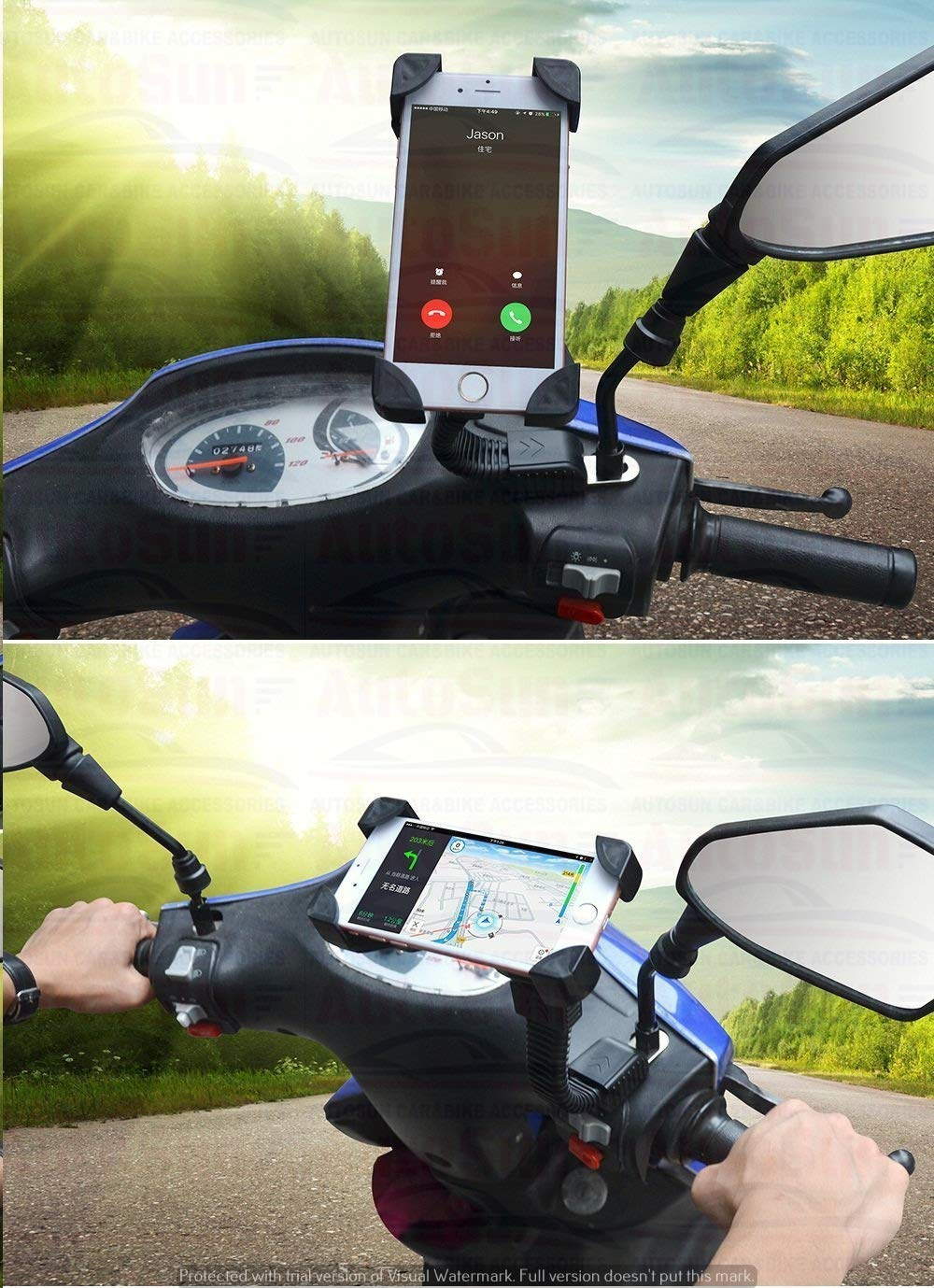 Autosun Mount Cell Phone Holder Installed To Rearview Mirror Value Furthermore Honda Motorcycle Wiring Diagrams On Telephone For Activa 125 Car Motorbike