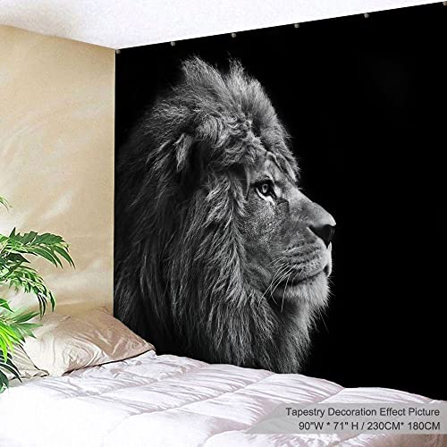 PROCIDA Lion Animal Tapestry Wall Hanging African Lion Tapestry Wall Decor for Dorm Room Bedroom Living Room College, 90 W x 71 L, Grey Lion Head