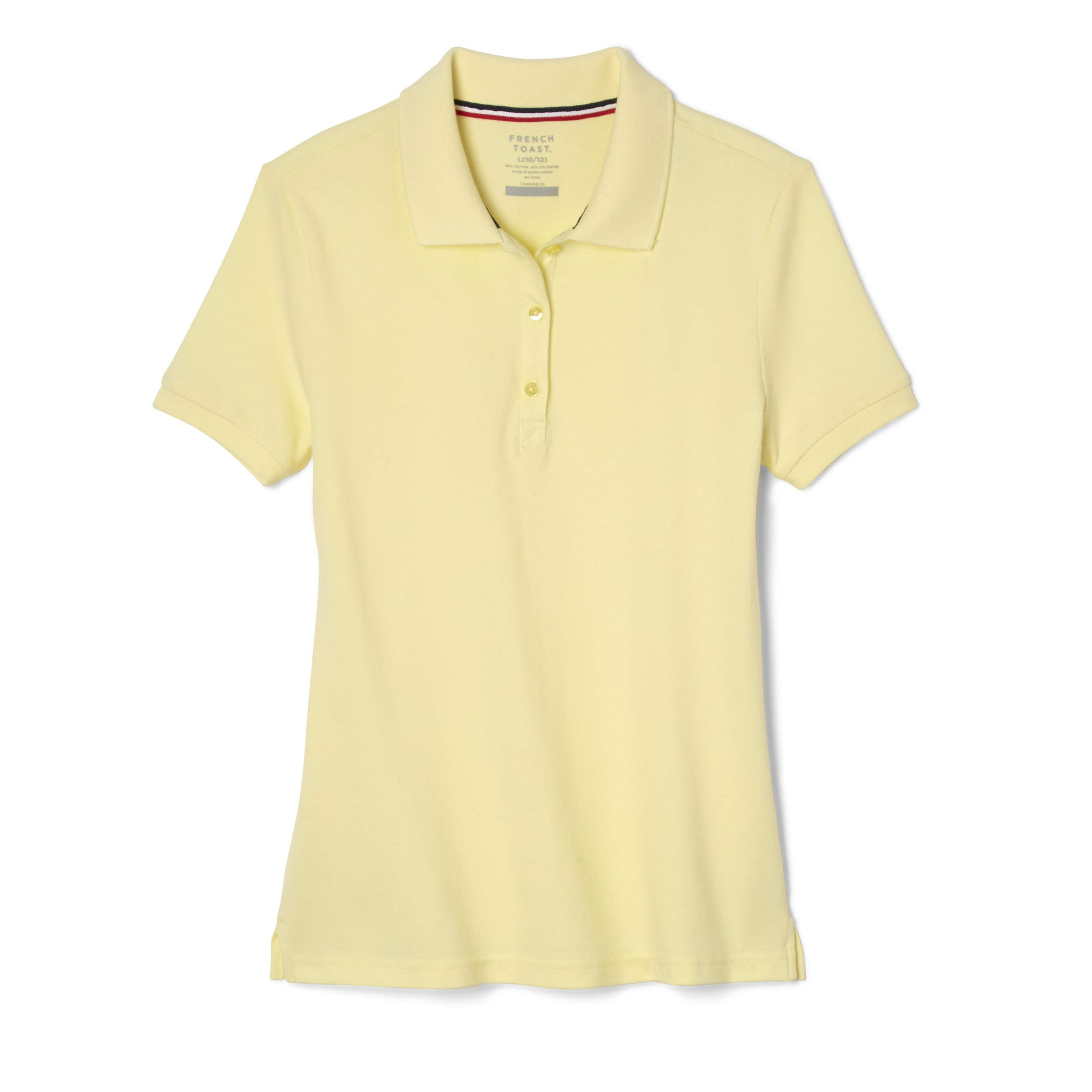 French Toast School Uniform Girls Short Sleeve Stretch Pique Polo Shirt, Yellow, 6 by French Toast (Image #1)