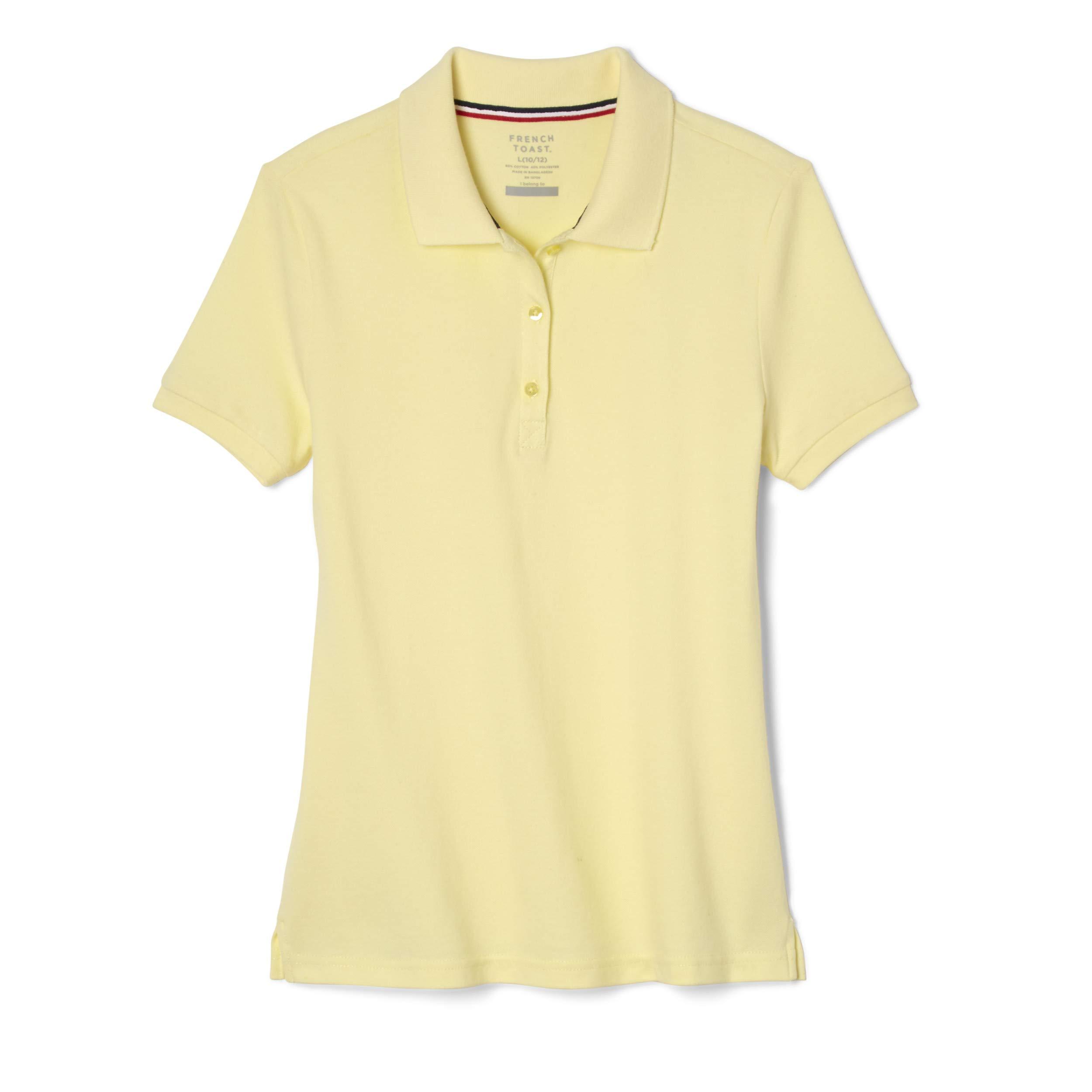 French Toast School Uniform Girls Short Sleeve Stretch Pique Polo Shirt, Yellow, 6