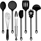 TOPHOME Kitchen Utensils Set 8 Pieces Silicone and Stainless Steel Cooking Utensils-Spoon, Whisk,Spatulas,Serving Tongs,Spaghetti Server,Ladle