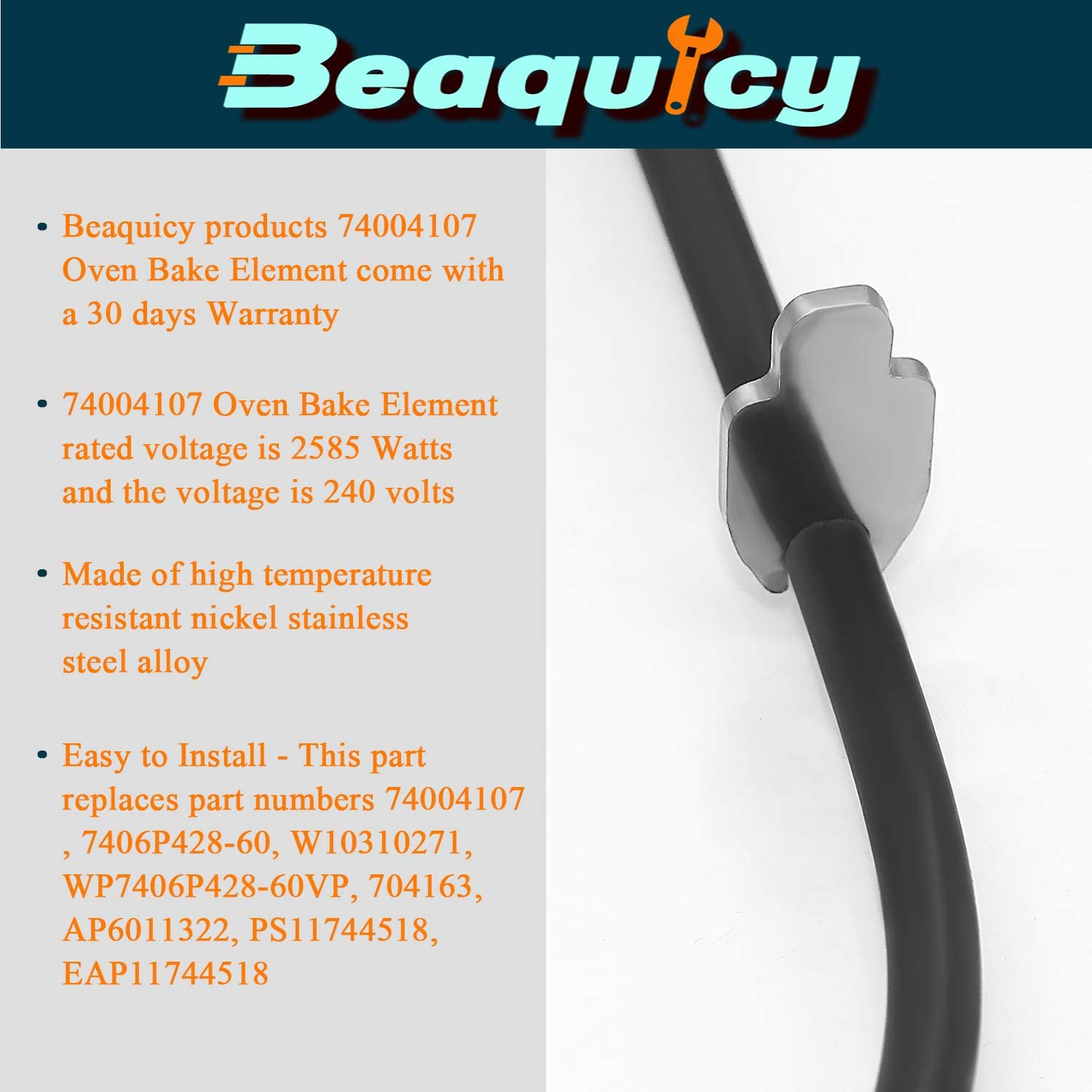 Beaquicy 74004107 Range Oven Bake Element Replacement for Kenmore Whirlpool Oven Replaces WP7406P428-60