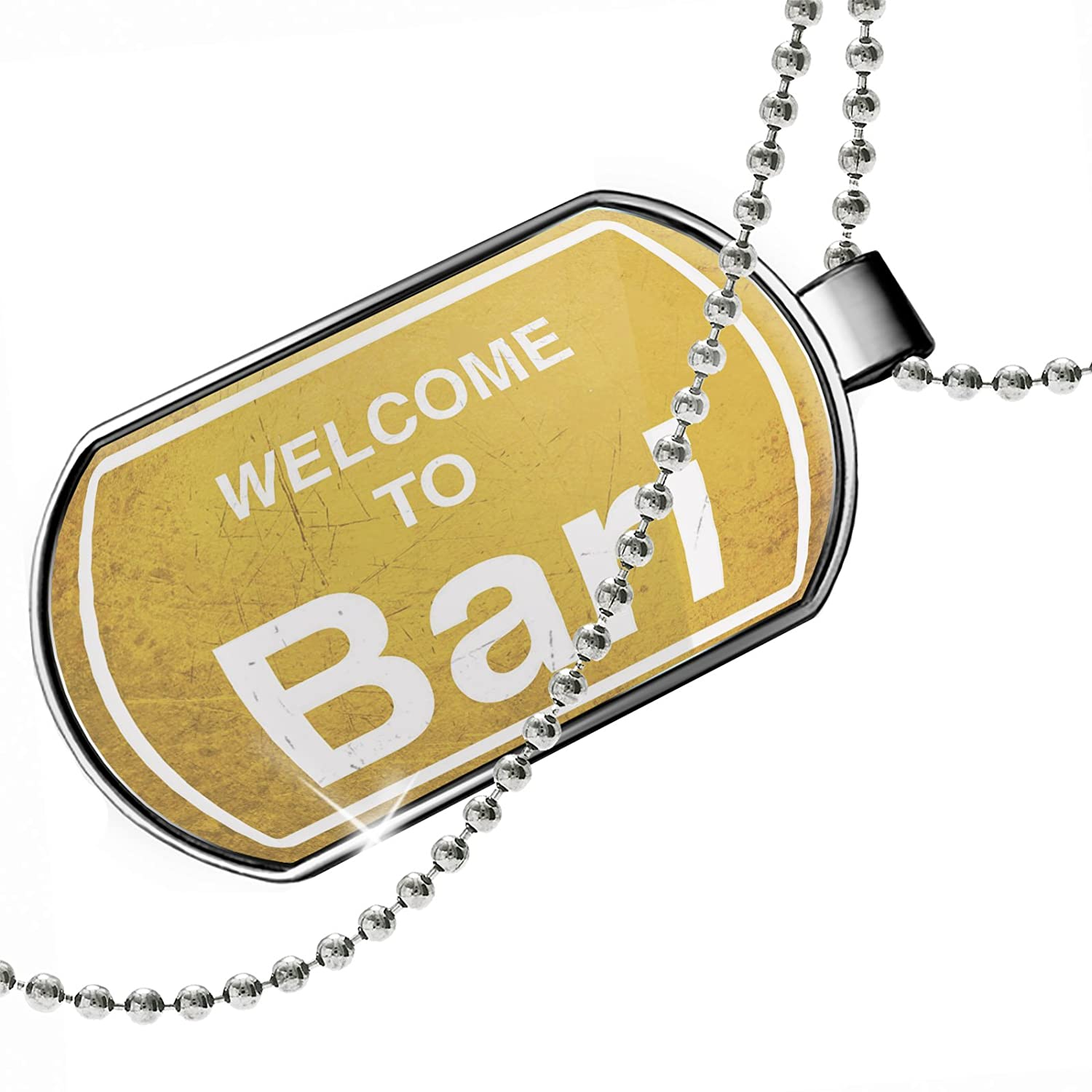 NEONBLOND Personalized Name Engraved Yellow Road Sign Welcome to Bari Dogtag Necklace