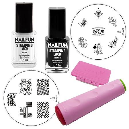 Stamping Starterset Basic - Konad Doppelstempel + Scrapper + Stampinglack weiss 11ml + Stamping-Lack schwarz 11ml + Stamping