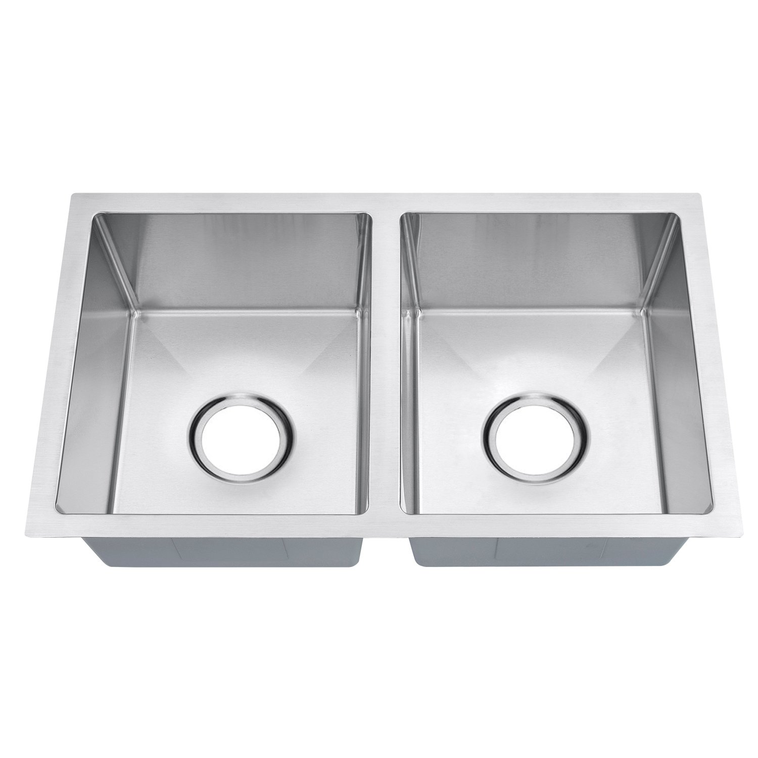 SINOGY 27 x16 Inch 50 50 Double Bowl Handmade Brushed Satin 7 Deep Kitchen Sink Undermount 18 Gauge Stainless Steel For RV Without Accessory
