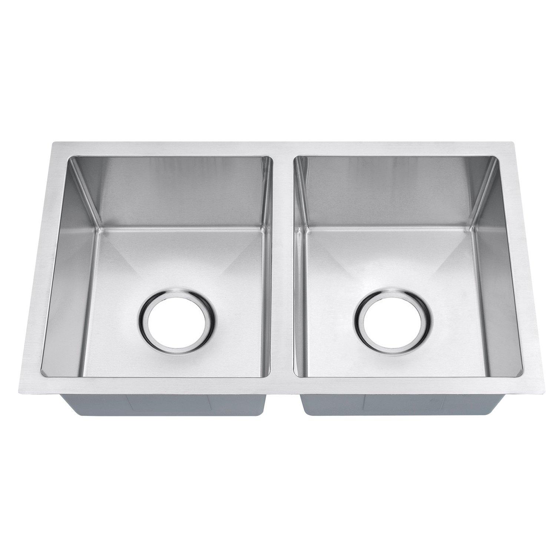 Primart Rv Series Handmade Double Bowl 18 Gauge Stainless Steel Undermount Kitchen Sink 50/50 Equal Modern, 27'' L (2716-5050)