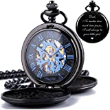 ManChDa Mechanical Engraved Pocket Watches Skeleton Double Cover Roman Numerals Dial Skeleton Customization Personalized Gift for Dad Mens Women Engraving Father's Day Gift Birthday Gift