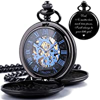 Mechanical Double Cover Roman Numerals Dial Skeleton Engraved Pocket Watches with Box and Chain Personalized Custom Engraving