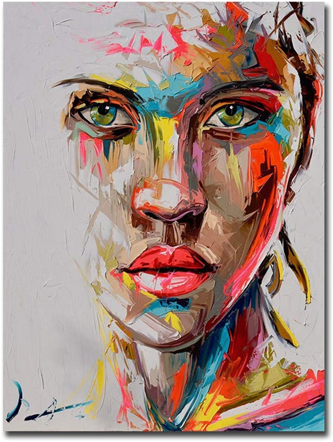 Cuadro Pintado A Mano Con Textura Gruesa, Pintura De Arte De Cuchillo De Cara Sobre Lienzo Blanco Moderno Abstracto Arte Pop Negro Mujer Lienzo Impresión Decoración De Pared, Sin Marco,70×90cm