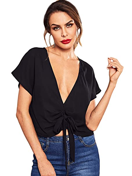 fed7f1034f7 SheIn Women's Short Sleeve Tshirt Deep V Neck Knot Front Solid Tops X-Small  Black