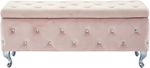 MyChicHome Hazel Contemporary Velvet Upholstered Metal Storage Ottoman