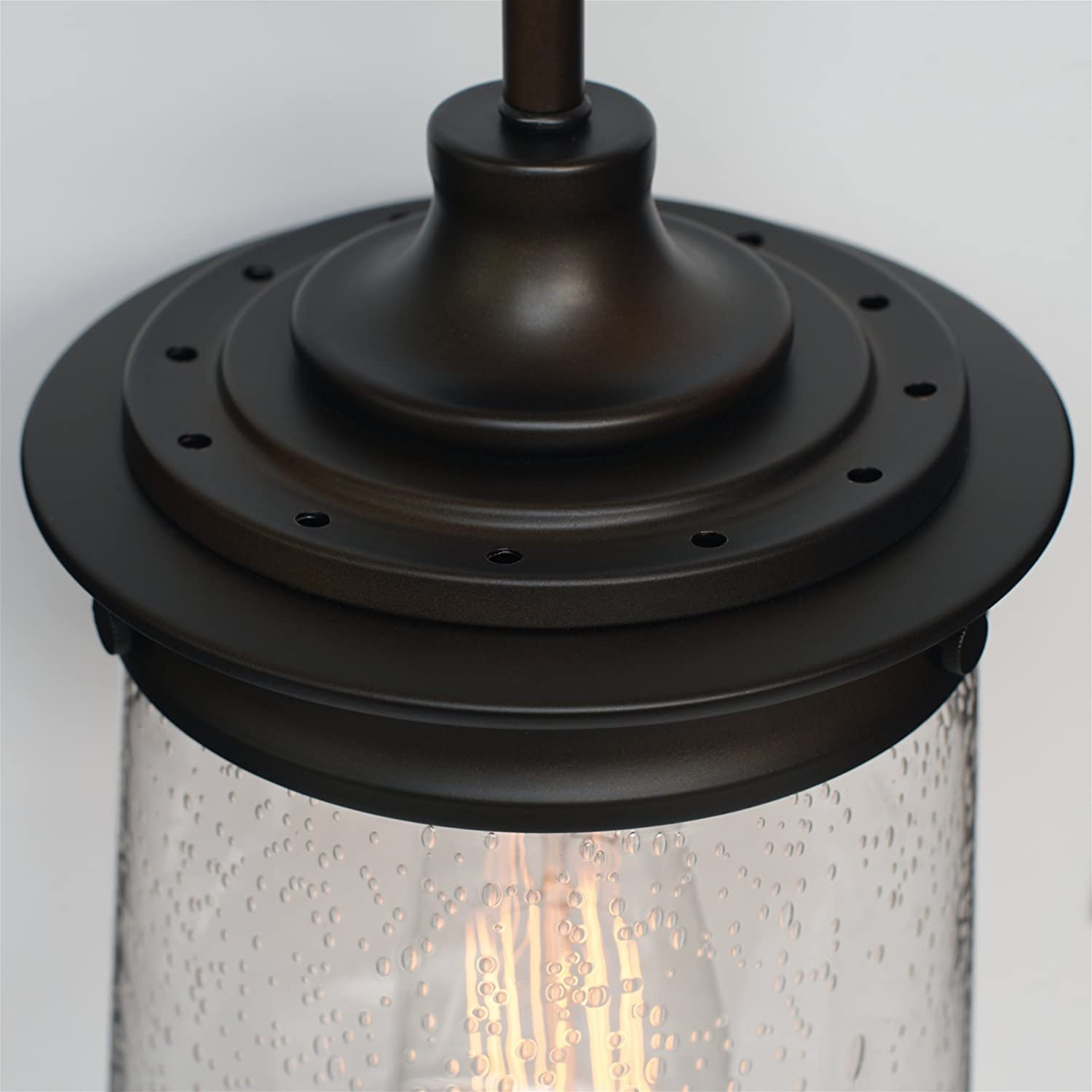 Kira Home Mason 10.5 Industrial Pendant Light, Seeded Glass Shade Oil-Rubbed Bronze Finish