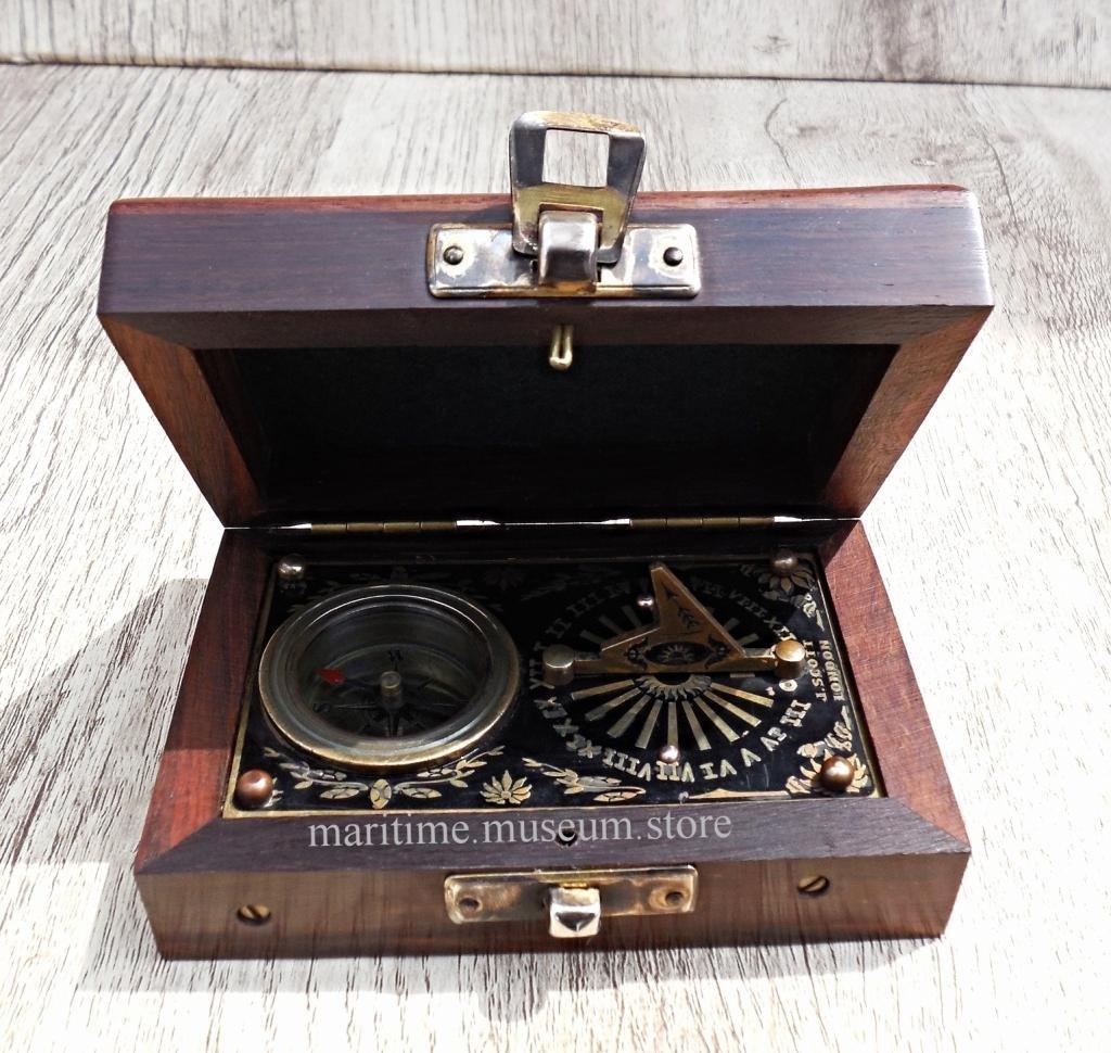 MAH Brass Pocket Beautiful Sundial Compass in Fix Wooden Box. C-3178