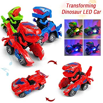 Dinosaur Transformed Toy Auto Deform With LED Rhythm Music Electronic Car Toys