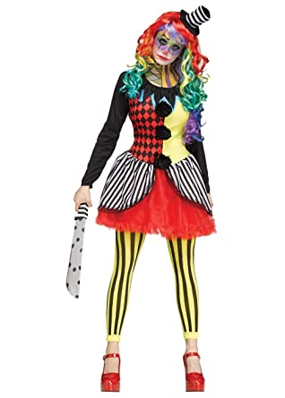 Killer Clown Halloween Costumes For Girls.Fun World Adult Scary Freakshow Psycho Clown Womens Halloween Costume