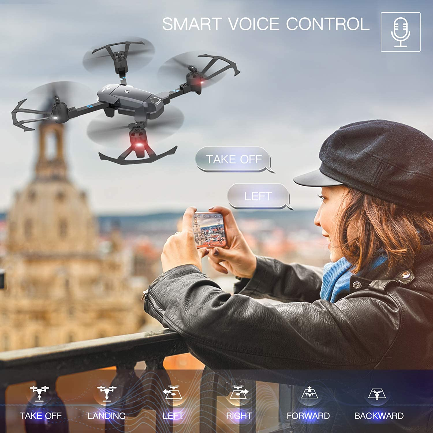 snaptain a15 foldable voice controlled drone review about voice command feature