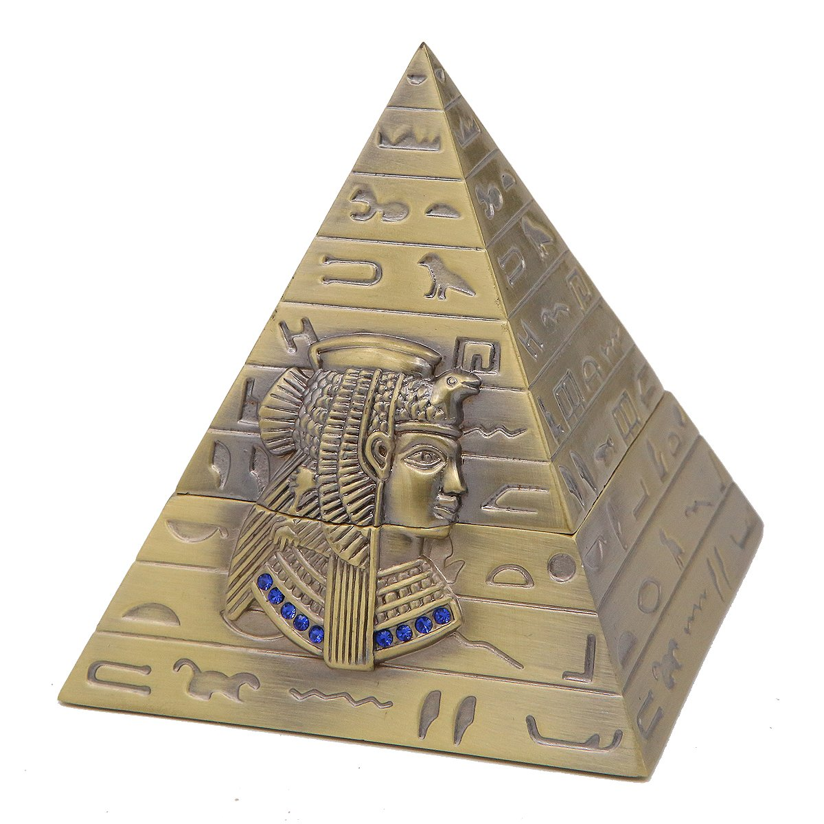Winterworm Metal Ancient Egyptian Khufu Pharaoh Pyramid Jewelry Box Storage Jewelry Container Box Home Decoration Crafts Gifts
