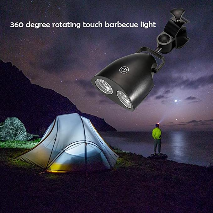 Teepao - Lámpara de parrilla para barbacoa con 10 luces LED súper brillantes - Durable, resistente a la intemperie, potente luz LED para barbacoa 360 ...