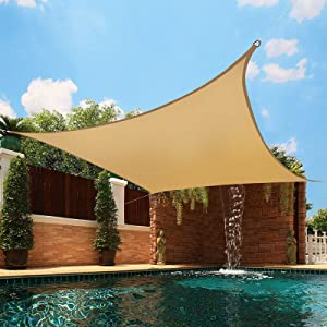 BELLE DURA Sun Shade Sail Canopy for Patio,Lawn,Garden, Backyard,Pool,Deck,Yard,Park,Carport,Outdoor 5Years Warranty (Rectangle-12'X16', Sand)