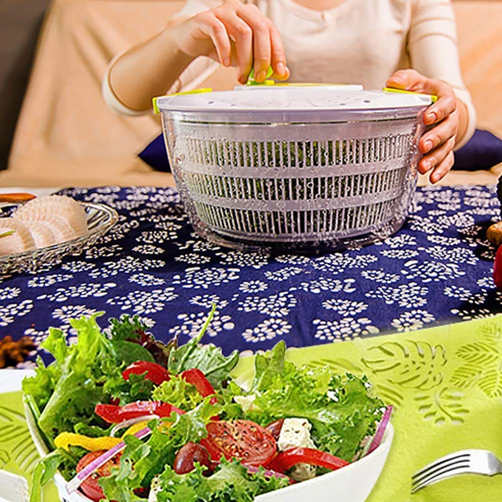 Aich Manual Vegetable Dehydration Salad Spinner Blue Washing Basket Fruit Salad Dehydrator Fruit and Vegetable Dry Water Separator Drainer High Capacity by Aich
