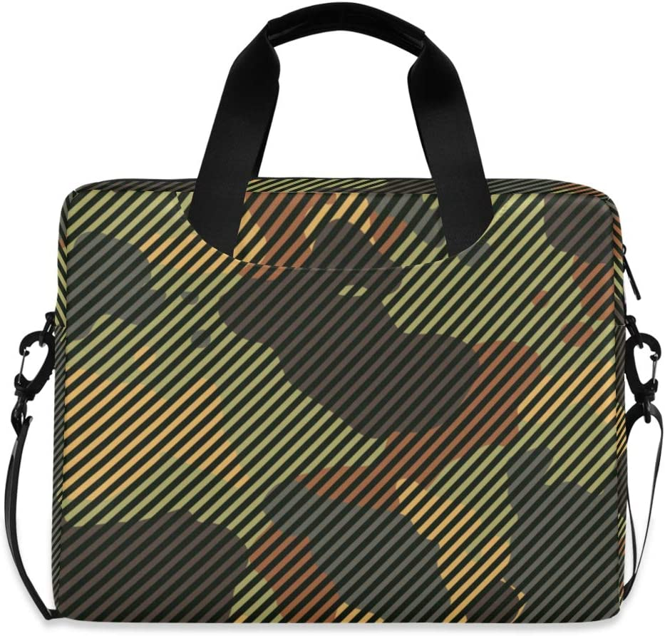 ALAZA Green and Brown Camo Camoflauge Striped Laptop Case Bag Sleeve Portable Crossbody Messenger Briefcase w/Strap Handle, 13 14 15.6 inch