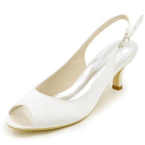 Scarpe Da Sposa Tacco 6.Elobaby Scarpe Da Sposa Donna Tacco Grosso In Chunky Decollete Con