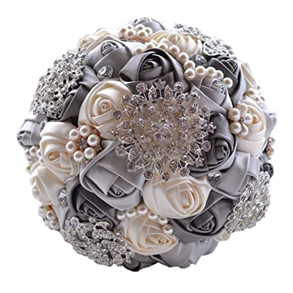 0d79abf67 Amazon.com: Wedding Flowers Bridal Bouquets Elegant Pearl Bride Bridesmaid  Wedding Bouquet Crystal Sparkle (gray): Home & Kitchen